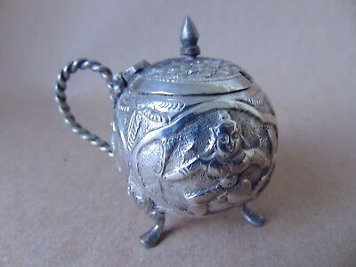 Beautiful Antique Indian Solid Silver Mustard Pot