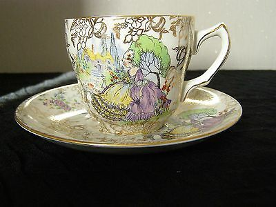 "Lord Nelson Ware Bcm Vintage Porcelain  ""pombadour""  Cup & Saucer"