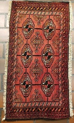VINTAGE COLLECTIBLE PERSIAN WOOL HAND KNOTTED TURKEMON 1.5x2.8ft RUG V23