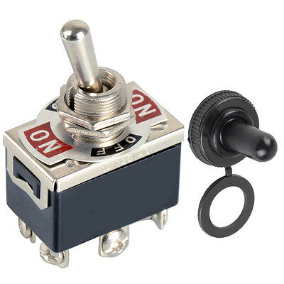 6-Pin Black DPDT DC Moto Reverse ON/OFF/ON Toggle Switch & Switch Cap