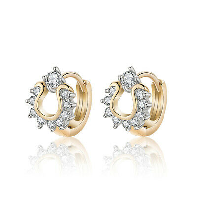 18 k Gold Plated Baby Girl Circle Crown Shiny Hoops First Earrings E969