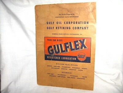 ES103 - VINTAGE/ANTIQUE GULF OIL LUBRICATION GUIDE - GULFLEX PRODUCTS -  1940's