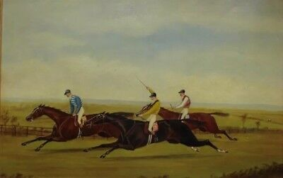 Framed Victorian Oil Painting. Horse Steeplechase Racing. Antique Fine Art.