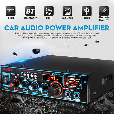 800W Digital Stereo Amplifier Bluetooth Audio Tuner USB SD FM Aux Mic Car Home
