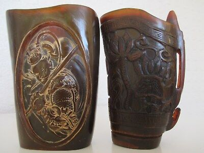 2 Chinese Oriental Carved Ox Horn Libation Cups - Warrior Immortal etc