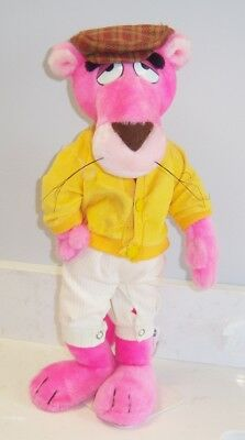 """Pink Panther With Golf Hat and Stand Special Effects 15"""" - Stuffed 1980 Vintage"""