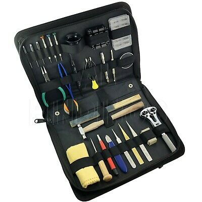 Watchmaker Watch Battery Repair Tool Kit Back Case Opener Remover Spring Pin Bar