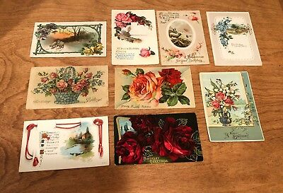 Lot of 9 Original Vintage/Antique Post Cards - Birthday Greetings, Flowers, Rose