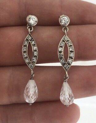 A Fine Pair Of Silver Paste Set Earrings.
