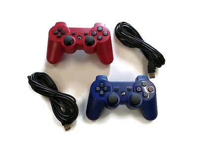 2 PS3 Controllers with 10FT Charge Cords Blue Red