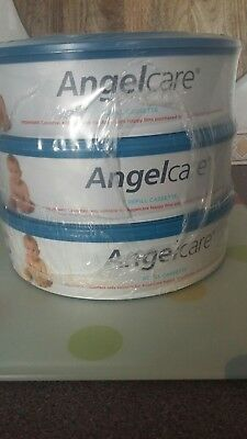 Angelcare nappy bin Refill Cassettes x3 new and sealed nursery baby accessories