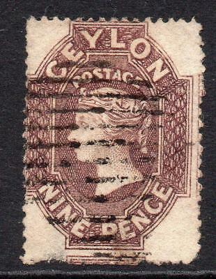 Ceylon 9 Pence Stamp c1861-64 Used (intermediate cut perf) (top thin)