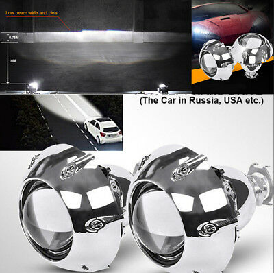 2X H4 H7 Motorcycle Car Universal Bi Xenon HID Projector Lens With Silver Shroud