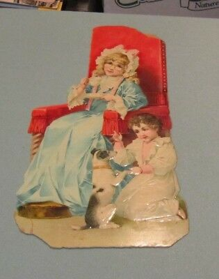 """C.D. Kenny Tea and Coffee 9"""" Embossed Victorian Trade Card Dog Begging Children"""