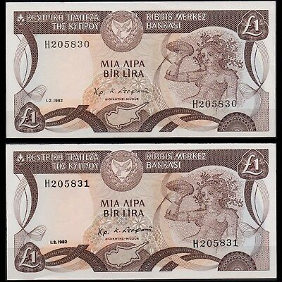 Cyprus 1.2 1982 One Pound 2 Banknotes Unc With Concecutive Numbers