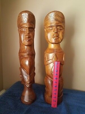 Vintage Pair of Hand Carved Tribal Bust Sculpture Statue 24 in. Tall