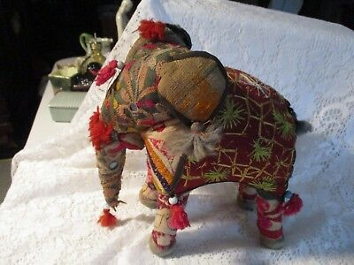 VTG ELEPHANT  STUFFED w/SAWDUST  MADE WITH STITCHED MATERIAL & TASSELS