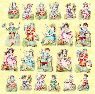 Victorian Scraps , 22 Small Children, Approx 4 X 3 Cm