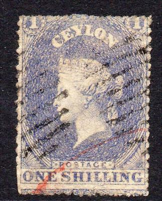 Ceylon 1/- Stamp c1861-64 (SG 35) Used (rough perf) (1)