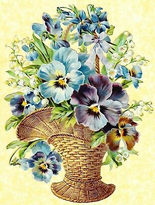 Victorian Scrap , Large Basket Of Pansy Flowers, Approx 23 X 17 Cm