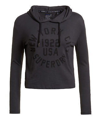 New Womens Superdry Factory Second Nordic Graphic Crop Hoodie Washed Black