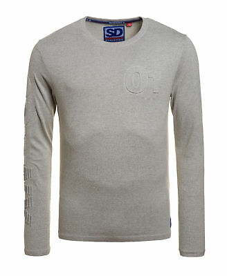 New Mens Superdry Factory Second NY Embossed Long Sleeve T-shirt Light Grey Grit