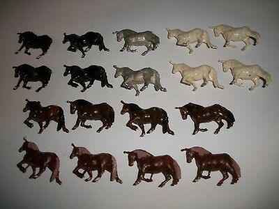 Antique lot of 18 small lead circus horses from Circus set