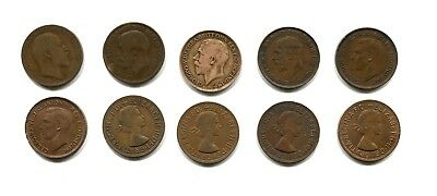 1908-1967 Great Britain UK Lot of 10 One Penny Coins
