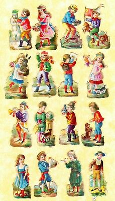 Victorian Scraps,tiny Children ,  Approx 3 X 1.5 Cm