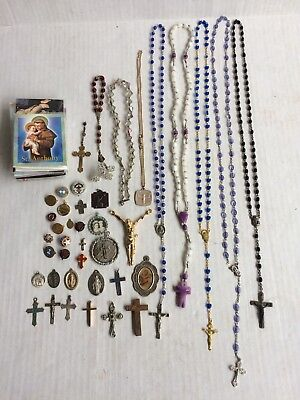 Lot Of Vintage Religious Jewelry Pins Rosaries Medals (Some Sterling)