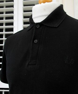 Fred Perry M12 Black Solid Colour Pique Polo - S/M - Ska Mod Scooter Casuals