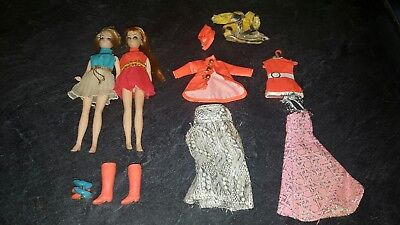 Vintage Topper corp doll lot 1970 clothes dolls shoes Hong Kong