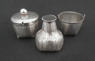 Good 19Th Century Chinese Export Silver Cruet Set - Woven Basket Form