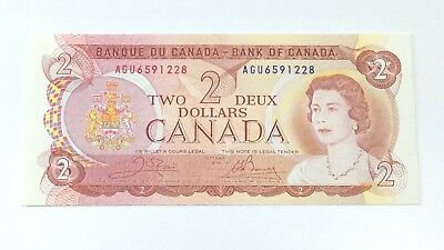1974 Two 2 Deux Dollar Canada Prefix AGU Canadian Uncirculated Banknote G888