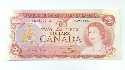 1974 Two 2 Deux Dollar Canada Prefix UC Canadian Uncirculated Banknote G889