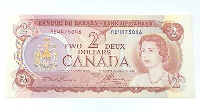 1974 Two 2 Deux Dollar Canada Prefix RE Canadian Uncirculated Banknote G890