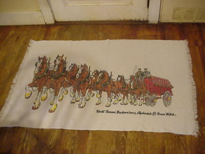 SCARCE VINTAGE BUDWEISER CLYDESDALE HORSES BATH or BEACH TOWEL, FREE SHIPPING