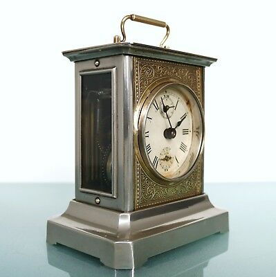 JUNGHANS MUSICAL Alarm Mantel TOP Clock FULLY RESTORED! Antique Germany Carriage
