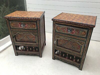 2x Bedside cabinets indian hand painted craft wood vintage ethnic moroccan asian