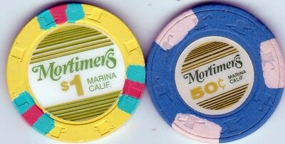 50 Cent & $1 Mortimers Marina, Ca Card Room Casino Chips