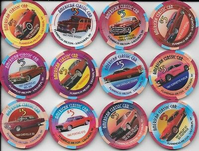 12 Chip Collection-CLASSIS CARS-FLAMINGO HILTON-Laughlin, Nv. 1996-All # 1035