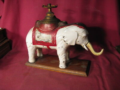 Outstanding Antique Painted Cast Iron Elephant Cigar Cutter & Lamp Empire N. Co