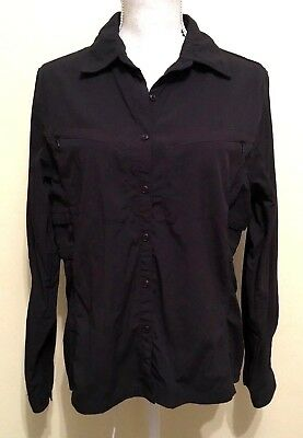 Eastern Mountain Sports Black Nylon Vented Blouse Top Sz Large Hiking Trail EMS