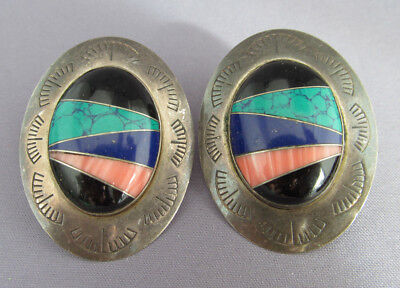 Vintage Old Pawn Sterling Sun West Silver Co. Oval Inlay Concho Pierced Earrings