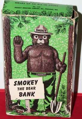 Vintage US Forest Service Smokey the Bear Figural Bank with Box - USA