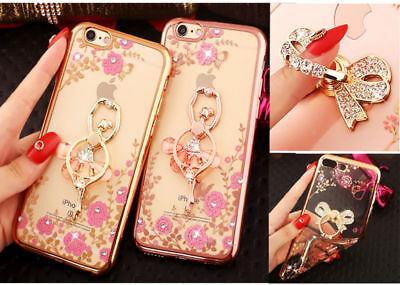 Bling Diamond Ring Holder Stand Soft Clear Phone Case Cover For iphone XS Max XR