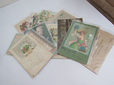 Vintage Antique Mixed Lot of 16 Holidays & Greetings Postcards Cards
