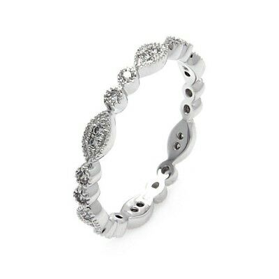 Womens 925 Sterling Silver Rhodium Plated Marquise CZ Stackable Eternity Ring