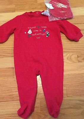 Babys Red Holiday Size 3-6 Months NEW Onepiece Outfit With Hat