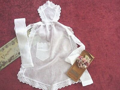 TWO Vintage Spotted Muslin Aprons Lace Trim GC.